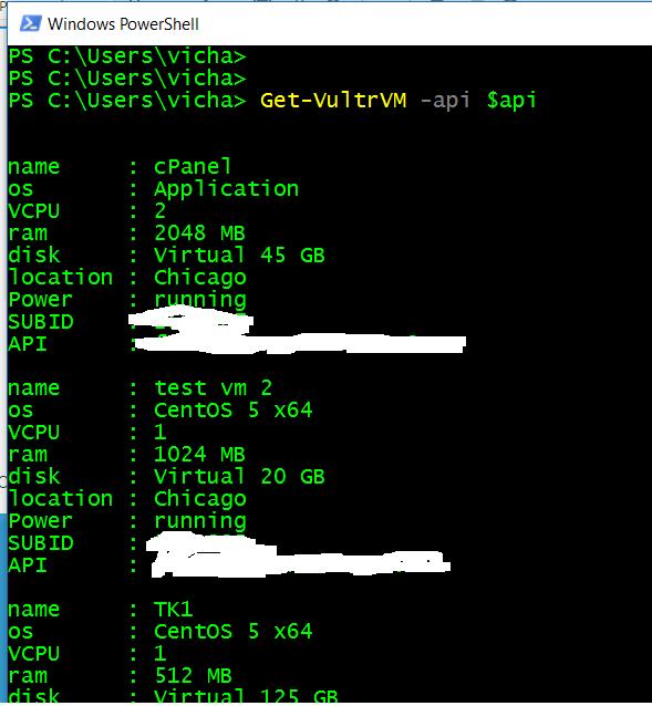 Vultr com Module for Powershell | Create, Stop, Start