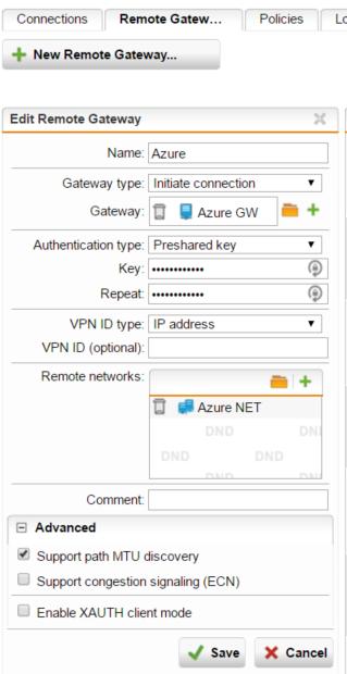 Azure to Sophos UTM Site to Site VPN IPSEC Settings ( IKEv1